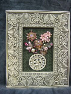 "Framed Vintage Jewelry Art - 7X8"" - Pink Floral Bouquet - OOAK #Surrealism"