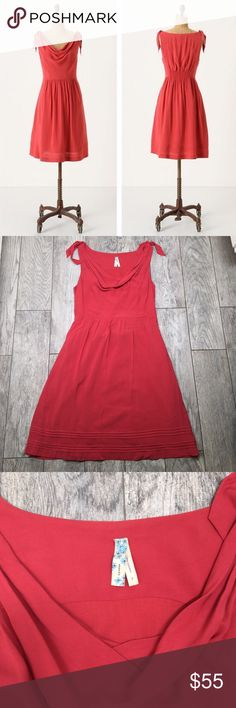 Anthropologie Maeve Tied Down dress 6 Beautiful dark coral/ light red Anthropologie Maeve tied down dress. Size 6. EUC with no flaws. Side zip. Pockets. Elastic band on back for stretch fit. Bust 19in Waist 15in Length 38in Anthropologie Dresses