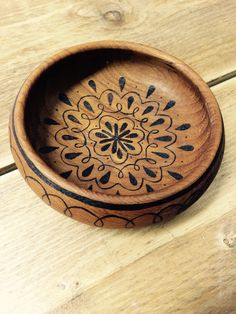 Beautiful trinket dish natural wooden bowl teak bowl mandala design hand decorated pyrography jewellery holder coin tray key dish by RockeryCottage