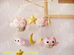Owls Mobile  Baby Crib Mobile  Hanging Felt Mobile  by hingmade, $85.00
