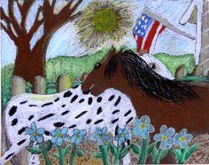3rd grade oil pastel, blue ribbon winner, Houston Livestock show and rodeo art contest