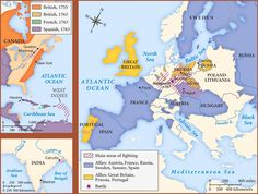 """Map of the Seven Years' War The conflict that Winston Churchill would label as the true """"first world war"""" began as the European powers sought dominance both in Europe and in their overseas empires. Seven Years' War, The Seven, French Revolution, American Revolution, Global Conflict, Fantasy Map, North Sea, Caribbean Sea, Historical Pictures"""