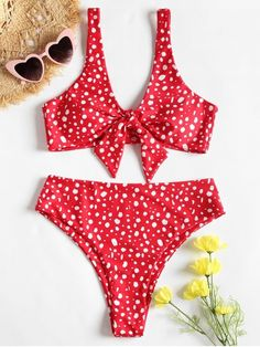 5fddb4783bea4 Shop for Speckled Knotted High Cut Bikini Set RED  Bikinis S at ZAFUL. Only