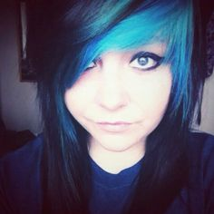 emo girl blue and black hair