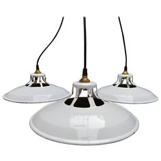 White Enamel Industrial Pendants | From a unique collection of antique and modern chandeliers and pendants at https://www.1stdibs.com/furniture/lighting/chandeliers-pendant-lights/