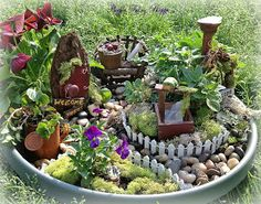 Horizontal Designs: The Gimpy Hooker:  How To Build A Container Fairy Garden