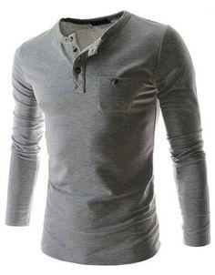 LS Henley w/ Buttoned Pocket Light Gray