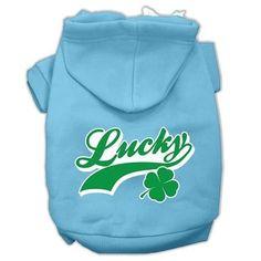 Lucky Swoosh Screen Print Pet Hoodies Baby Blue Size XL (16)