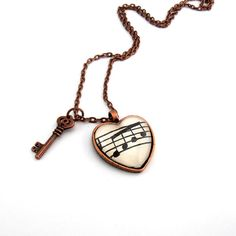 Copper Music Art Pendant,  Musical Note Jewelry, Heart Necklace with Key Charm