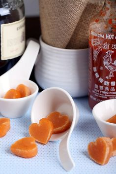 Whiskey Sriracha Candy (post is from around Valentines Day hence the hearts but could be shaped like anything, preferable something Manly like 9mm bullets)