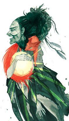 louhi steals the sun - A3 art print #folklore #art #illustration