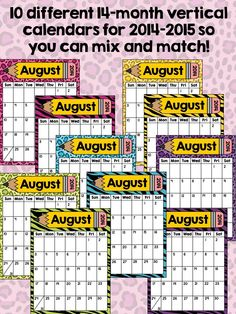 Wild about animal print?? Adorable vertical calendars that you can mix and match!!