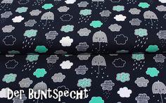 **Nähen ist wie zaubern können**  Toller Jersey Stoff in schönen Farben ... Regenwolken und Regenschirme - der Herbst kommt...  Die Wolken haben eine Größe von ca 3,5 cm x 2,5...