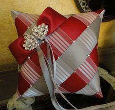Wedding Ring Bearer Pillow Apple Red Grey & White by SisiCreations, $50.00