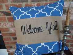 """Burlap Pillow Wrap  for a 16"""" or 18"""" pilow with embroidered :welcome y'all"""" by cindidavis1 on Etsy"""