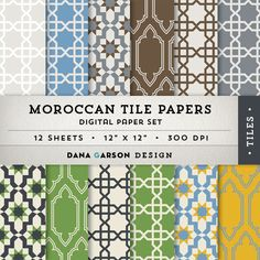 Moroccan Tile Digital Papers for invites by DanaGarsonDesign