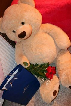 gift teddy bear Flower Bouquet For Girlfriend Romantic Cute Couple Pictures, Girly Pictures, Love Photos, Big Teddy, Cute Teddy Bears, Relationship Goals Pictures, Cute Relationships, Mode Poster, Teddy Bear Pictures