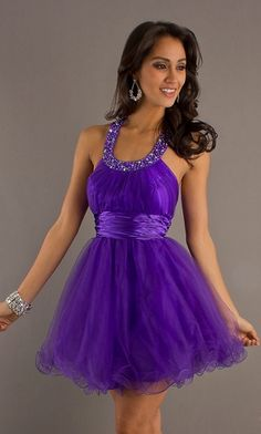 Purple Halter Prom Dress Short Tulle Poofy A Line Skirt Scoop Neck