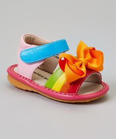 a36c358304 Look at this Colorsplash Add-a-Bow Squeaker Sandal on  zulily today!