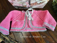 Labores de siempre: Chaqueta corta ,rosa y gris