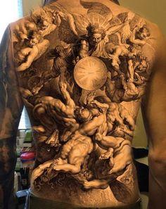 Another back piece idea I'd be interested in doing! Email me if interested. Another back pie Incredible Tattoos, Beautiful Tattoos, Tattoo Blog, Tattoo Life, Trendy Tattoos, Tattoos For Guys, Gott Tattoos, Body Art Tattoos, Sleeve Tattoos