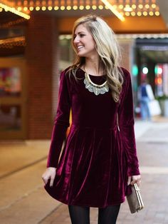 red velvet dress with Jewelry - Necklace