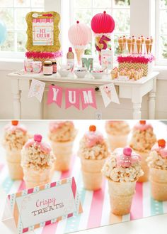 What a stunning ice cream party and it comes with free printables, too! This party Ice Cream Party, 3rd Birthday Parties, Birthday Fun, Birthday Ideas, Birthday Themes For Kids, Third Birthday, Birthday Celebration, Fiesta Party, Bar A Bonbon