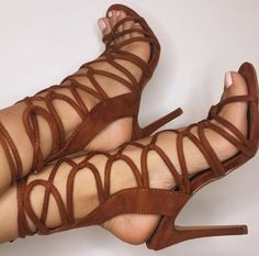 brown suede strappy high heel sandals <3
