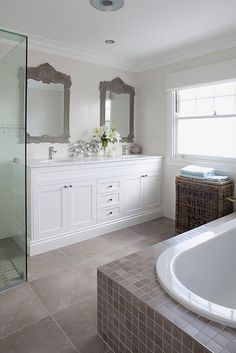Here are 5 gorgeous bathroom tiles ideas to get your home design juices flowing. Laundry In Bathroom, House, House Bathroom, Home, Pretty Bathrooms, White Bathroom Cabinets, Bathroom Flooring, Bathroom Decor, Beautiful Bathrooms