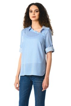0aed27d1f0 Asymmetric side button stripe print shirt
