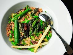 #Spring Vegetable Risotto With Asparagus, Zucchini, Fava Beans, Snap Peas, and Morels -- gorgeous!