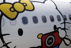 Airbus A330-300 aircraft of Taiwan's Eva Airlines, decorated with Hello Kitty motifs