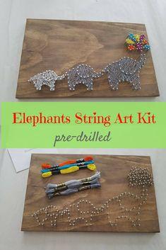 Elephant family string art DIY kit. Comes pre-nailed, so it'll be easy to do. Cute design for #nursery or #kidsroom. #stringart #DIY #ad #handmade #elephants #familiy #giftideas #wallart #homedecor #pattern