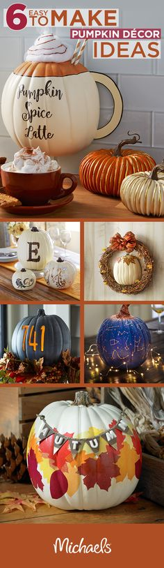 Welcome fall into your home with these 6 easy to make pumpkin décor ideas. From monograms & leaves to the ever-so-loved pumpkin spice latte, Michaels has everything you need to make your home warm and cozy this fall. Autumn Crafts, Thanksgiving Crafts, Thanksgiving Decorations, Holiday Crafts, Holiday Fun, Harvest Crafts, Theme Halloween, Holidays Halloween, Halloween Crafts