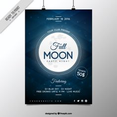 Full moon party night poster  Free Vector