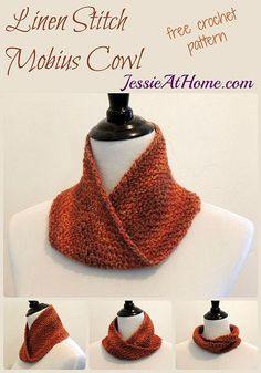 Linen stitch mobius cowl free #crochet pattern @jessie_athome