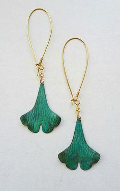 Ginkgo Leaf Earrings by LaPlumeNoir on Etsy
