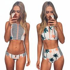 Cheap bra style bathing suit tops, Buy Quality suit jacket and jeans directly from China suits for wedding party Suppliers: Print Floral Palm Tree Bikini Set,High Neck Tank Zipper Striped Swimsuit Padded Bra High Waist Swimwear Vintage Bathing Vintage Bathing Suits, Cute Bathing Suits, Bathing Suit Top, Bikini Set, Halter Bikini, Bikini Swimsuit, Ropa Interior Boxers, Athletic Swimwear, Striped Swimsuit