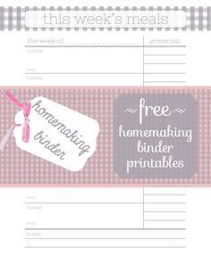 free homemaking binder printables