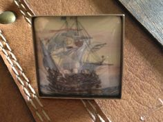 FREE US SHIPPING  Brass square nautical pirate by TessaUniverse, $16.00
