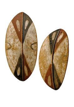 Africa | Two shields from the Kikuyu people of Kenya | Wood and pigment…
