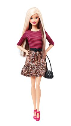 Barbie Fashionistas Doll with Blonde and Brunette Hair in Leopard Print Skirt and Striped Shirt, 2015 ($10 at Shop.Mattel .com. I bought her at Walmart for $8.)