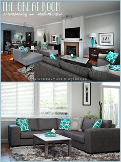 Living Room Ideas: Turquoise Dining Room Ideas, Turquoise Rooms, Turq... #livingroomdesignswithtv Teal Living Rooms, Living Room Color Schemes, Living Room Paint, Living Room Colors, New Living Room, My New Room, Living Room Designs, Living Room Decor, Cozy Living
