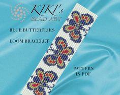 Bead loom pattern - Blue butterflies LOOM bracelet PDF pattern instant download