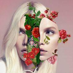 We Are Made Of Flowers: Marcelo Monreal Contemporary art, collage, portrait, photomontage: girl with flowers Art Du Collage, Digital Collage, Collage Portrait, Surreal Collage, Digital Art, Photomontage, Art Floral, Art Plastique, Art Inspo