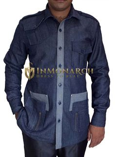 2e347e0c2b This denim blue bush mens shirt is made with cotton fabric two buttoned  chest pockets flanked by two waist pockets.