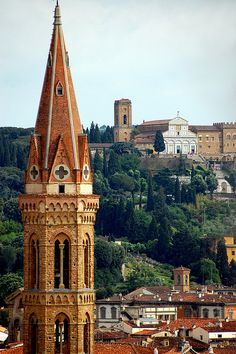 Campanile di Giotto,The spire of the Badia, Florence, Italy