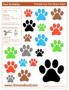 Printable Paw Print Stickers, Printable Balloon Stickers, free for personal arts and crafts projects. For high resolution JPEG (1200x 927) please visit: http://timvandevall.com/shape-templates/paw-print-template-shapes/