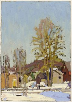 Tom Thomson ~ Catalogue Raisonné ~ Snow in the Village ~ (Spring ~ oil on paperboard Group Of Seven Paintings, Paintings I Love, Painting Snow, Winter Painting, Canadian Painters, Canadian Artists, Landscape Art, Landscape Paintings, Winter Landscape