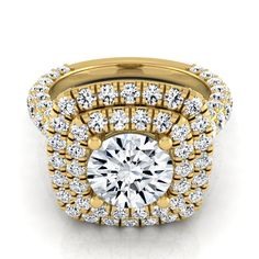 14k Yellow Gold 3 1/6ct TDW Round Double Halo Diamond Engagement Ring (H-I, VS1-VS2) (Size - 4), Women's